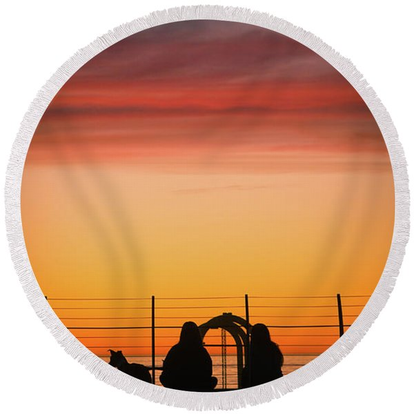 Round Beach Towel featuring the photograph 22nd St Sunset by Michael Hope