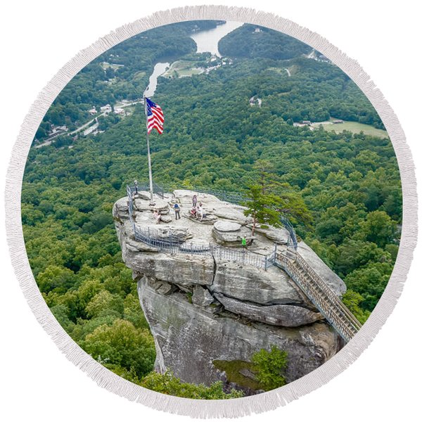 Lake Lure And Chimney Rock Landscapes Round Beach Towel
