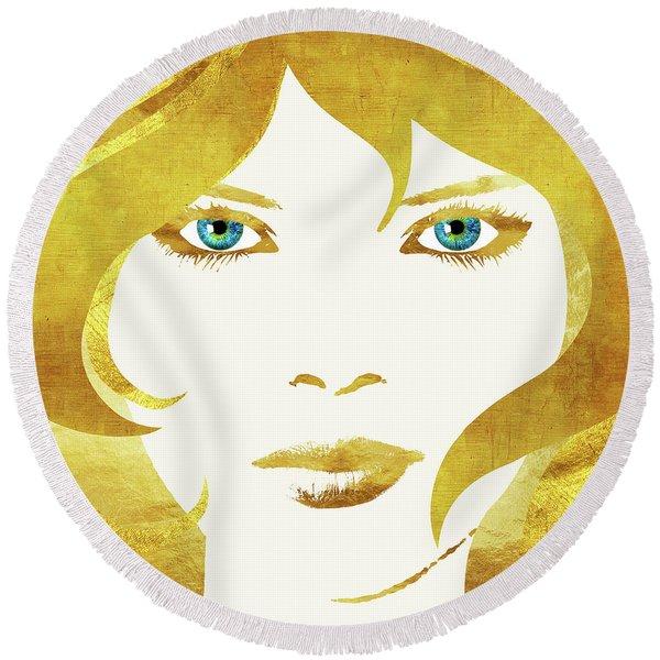 24 Karat Babe, Woman In Gold Fashion Art Round Beach Towel