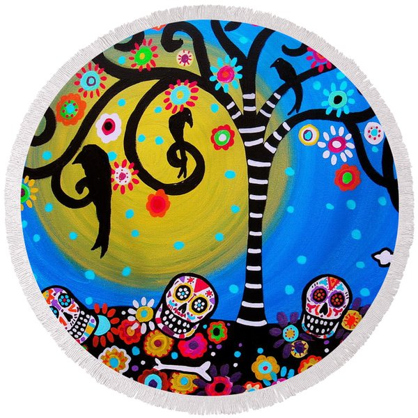 Day Of The Dead Round Beach Towel