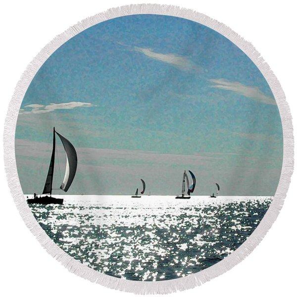 4 Boats On The Horizon Round Beach Towel