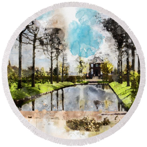 City Life In Watercolor Style Round Beach Towel