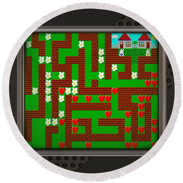 Lcd Screen With Retro Style Game Generated Texture Round Beach Towel