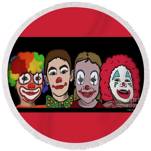 Round Beach Towel featuring the digital art 4happy Clowns by Megan Dirsa-DuBois