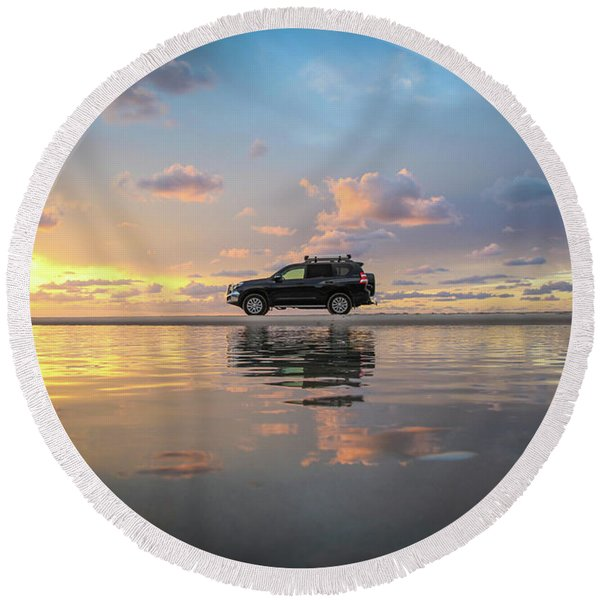 4wd Vehicle And Stunning Sunset Reflections On Beach Round Beach Towel