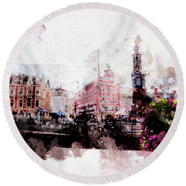 Round Beach Towel featuring the digital art City Life In Watercolor Style  by Ariadna De Raadt