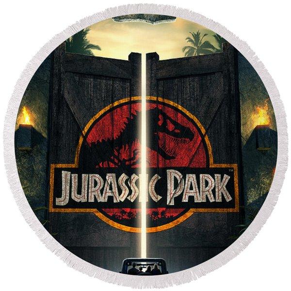 Jurassic Park 1995  Round Beach Towel
