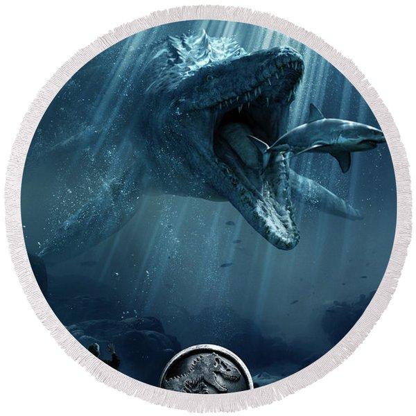 Jurassic World 2015  Round Beach Towel