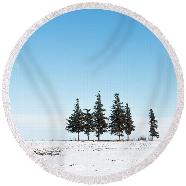 6 Pines And The Moon Round Beach Towel