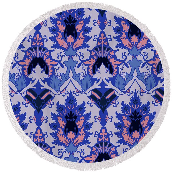 Round Beach Towel featuring the digital art Floral Decorative Pattern by Ariadna De Raadt