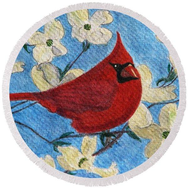 A Cardinal Spring Round Beach Towel