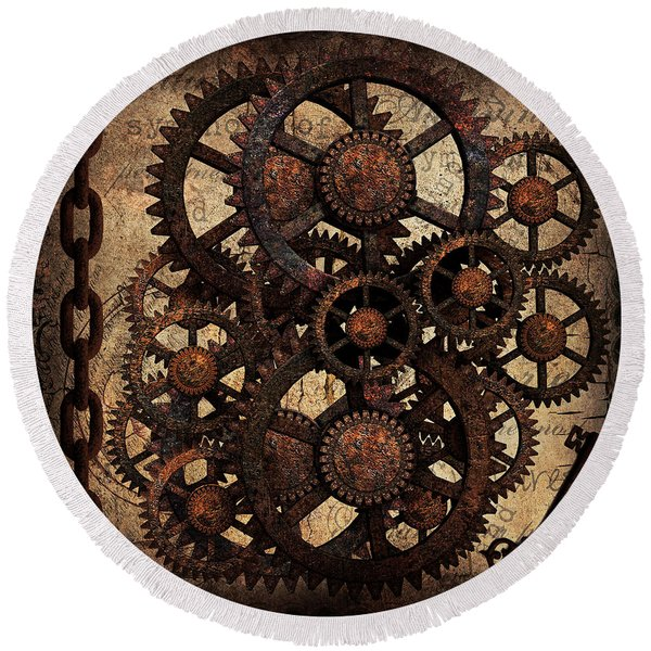 A Cog In The Machine That Governs Us Round Beach Towel