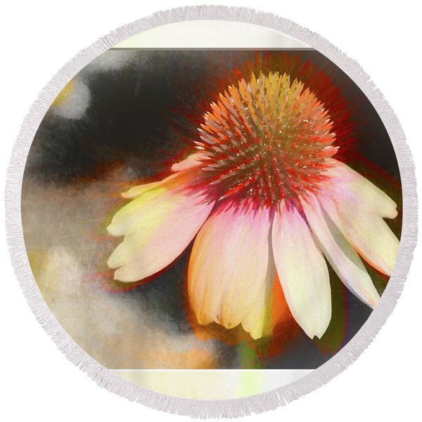 A Colorful Coneflower With Bokeh Round Beach Towel