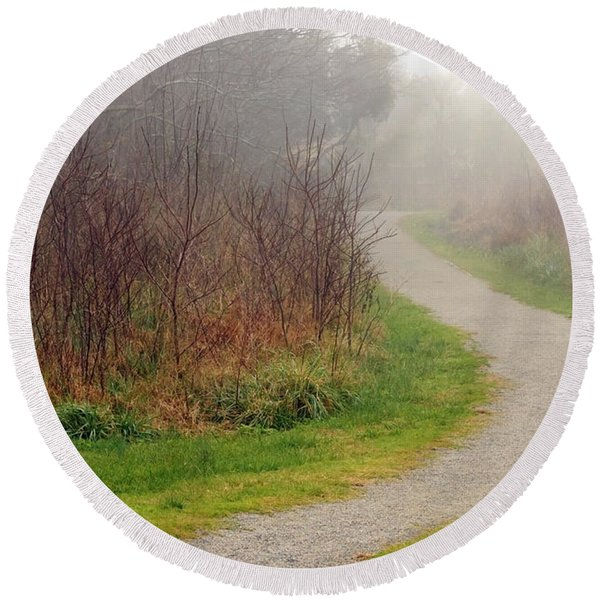 A Foggy Path Round Beach Towel