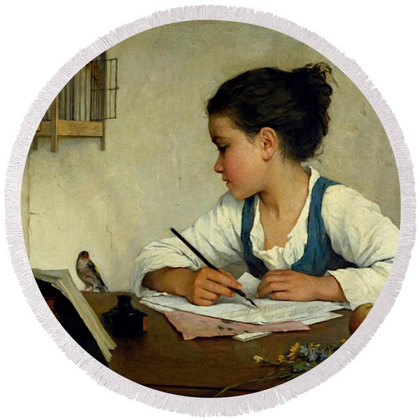 A Girl Writing. The Pet Goldfinch Round Beach Towel