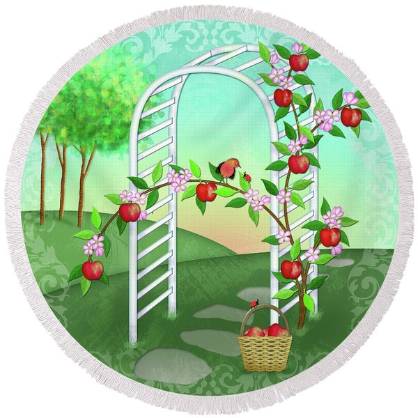 A Is For Arbor And Apples Round Beach Towel
