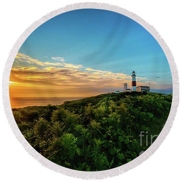 A Montauk Lighthouse Sunrise Round Beach Towel