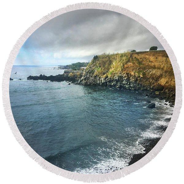 A Storm Brewing Over The Eastern Shoreline Cliffs Of Angra Do Heroismo Terceira Round Beach Towel