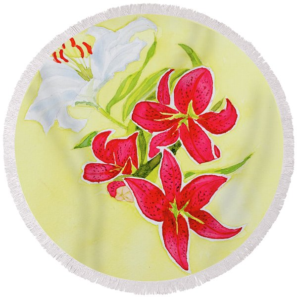 A Study Of Lilies Round Beach Towel