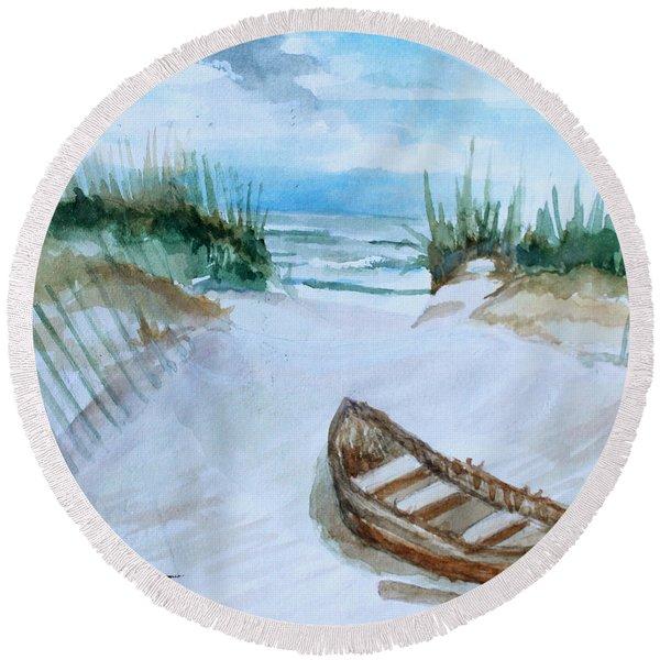 A Trip To The Beach Round Beach Towel