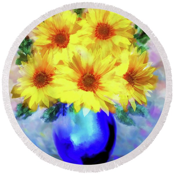 A Vase Of Sunflowers Round Beach Towel