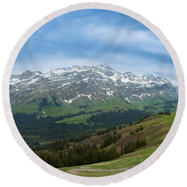 A View To The Saentis, Switzerland Round Beach Towel