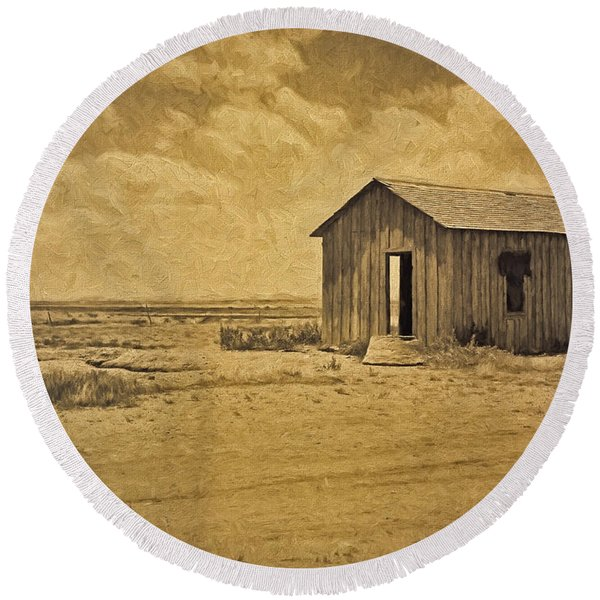 Abandoned Dust Bowl Home Round Beach Towel