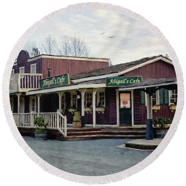Abigail's Cafe - Hope Valley Art Round Beach Towel
