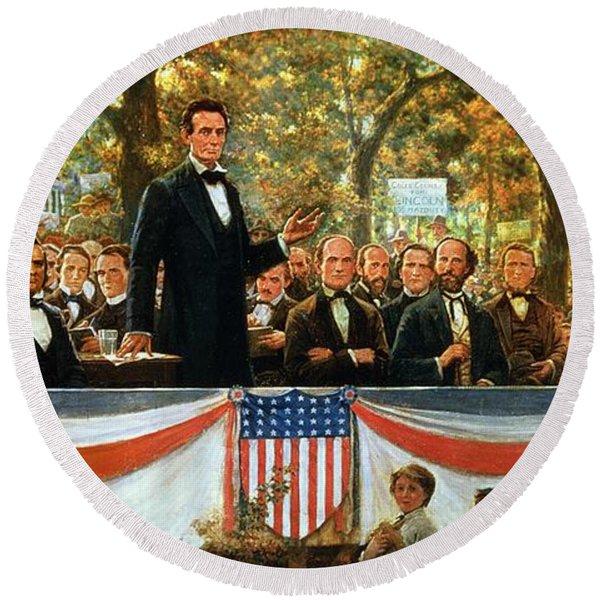 Abraham Lincoln And Stephen A Douglas Debating At Charleston Round Beach Towel