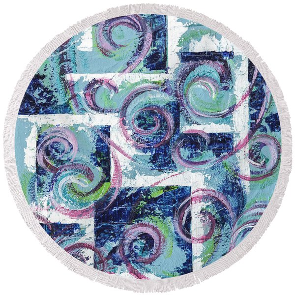 Round Beach Towel featuring the painting Abstract Background by Ariadna De Raadt
