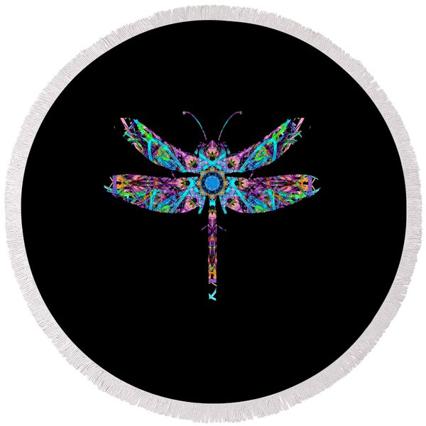 Abstract Dragonfly Round Beach Towel