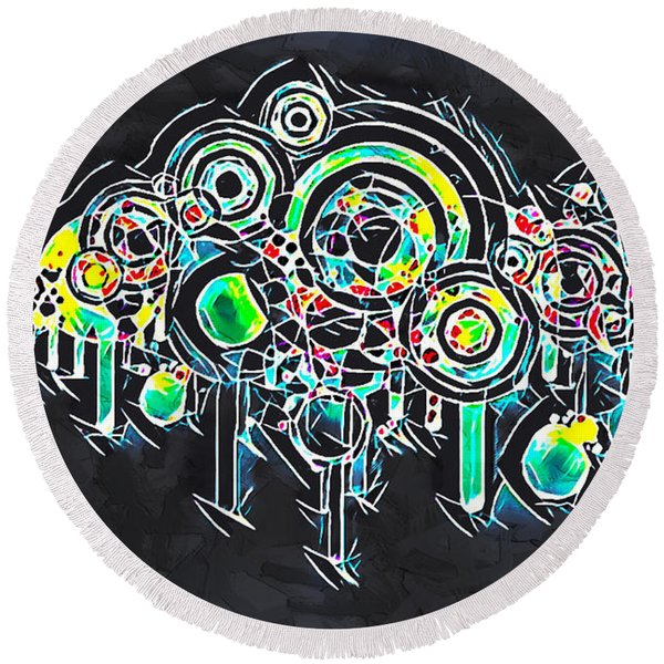 Abstract Floral Round Beach Towel