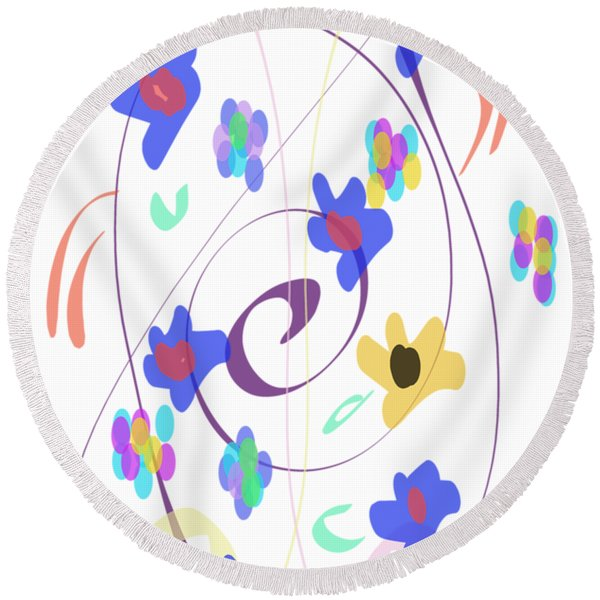 Abstract Garden Nr 7 Naif Style Round Beach Towel