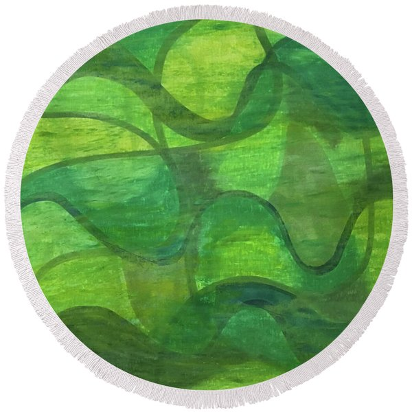 Abstract Green Wave Connection Round Beach Towel