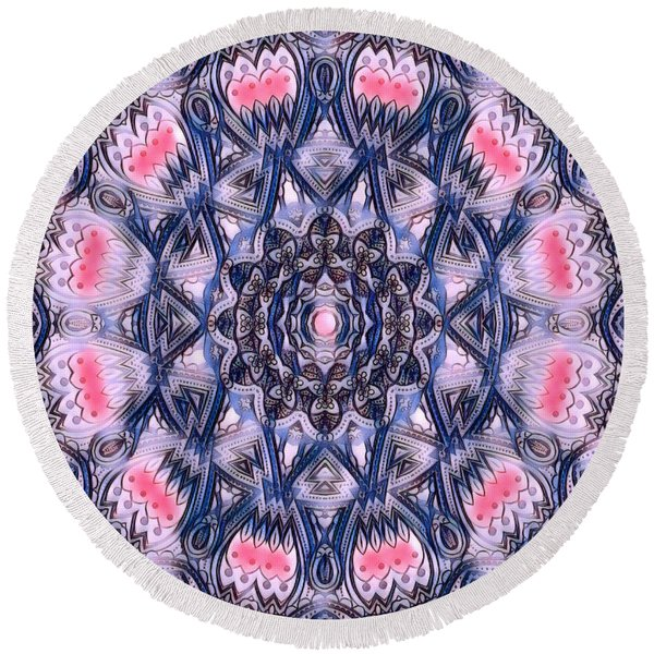 Abstract Mandala Pattern Round Beach Towel