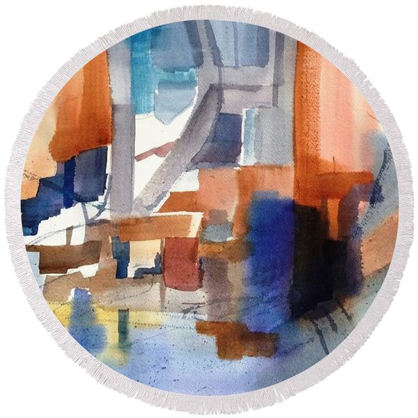 Abstract- Peggy's Cove Round Beach Towel