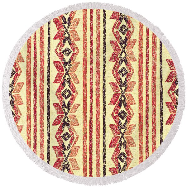 Abstract Stripes Pattern Round Beach Towel