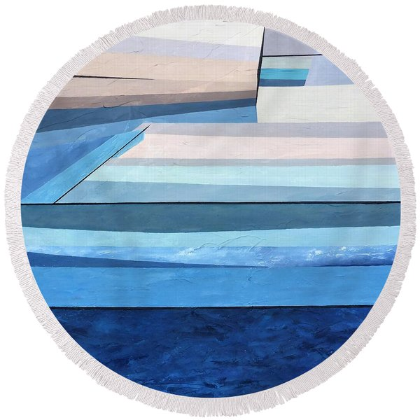 Abstract Swimming Pool Round Beach Towel