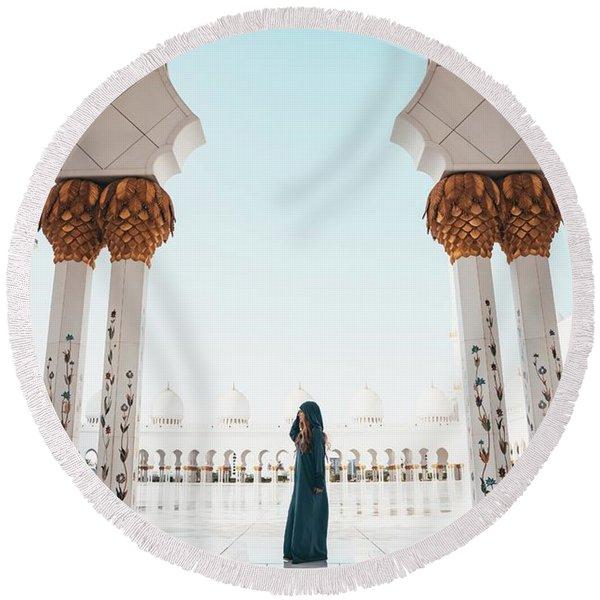 Abu Dhabi Mosque Round Beach Towel