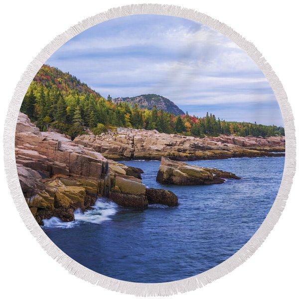 Acadia's Coast Round Beach Towel