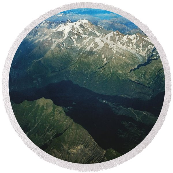 Aerial Photograph Of The Swiss Alps Round Beach Towel