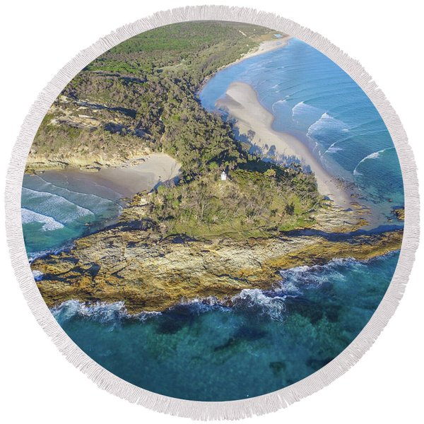 Aerial View Of North Point, Moreton Island Round Beach Towel