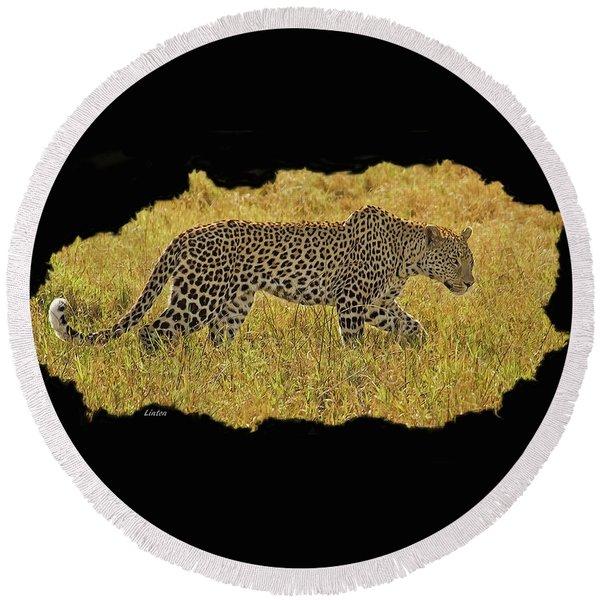 African Leopard 7 Round Beach Towel