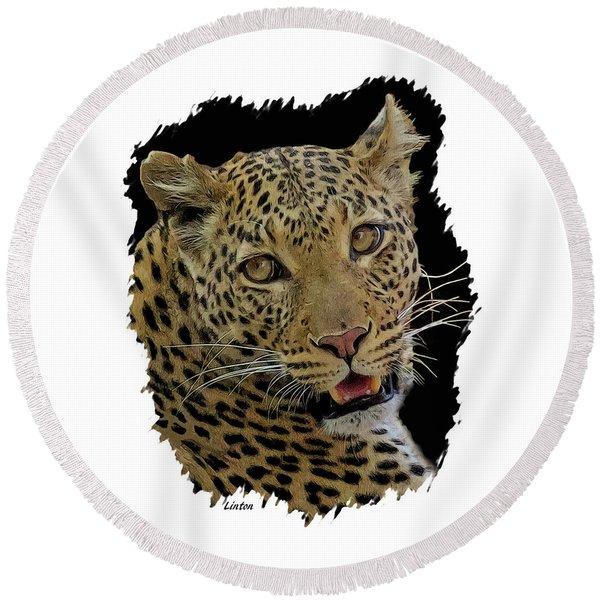 African Leopard Portrait Round Beach Towel