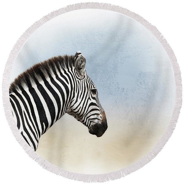 African Zebra Closeup Square Round Beach Towel