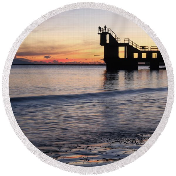 After Sunset Blackrock 2 Round Beach Towel