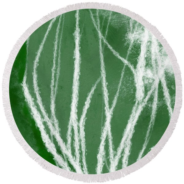 Agave- Abstract Art By Linda Woods Round Beach Towel