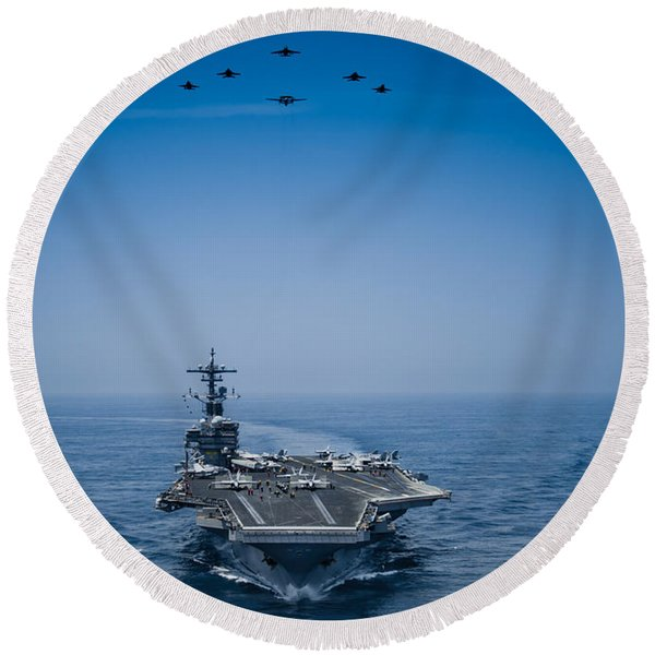 Aircraft From Carrier Air Wing Round Beach Towel