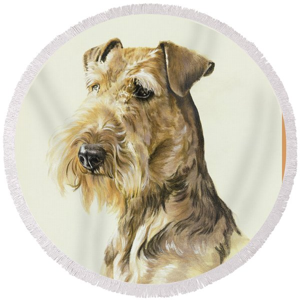 Airedale In Watercolor Round Beach Towel