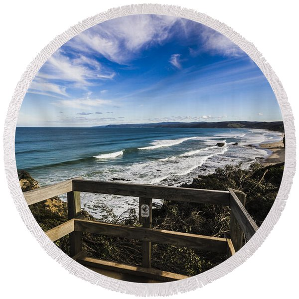 Aireys Inlet Lookout Round Beach Towel